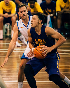 "VSCO Film Look: ""N - Kodak Gold 100 Cool"" - Ben Simmons, Mitchell Young - LSU Tigers Basketball (featuring Australian Ben Simmons ) vs South East Queensland All Stars, Auchenflower Stadium, Brisbane, Queensland, Australia; Tuesday 18 August 2015. Photos by Des Thureson - http://disci.smugmug.com"