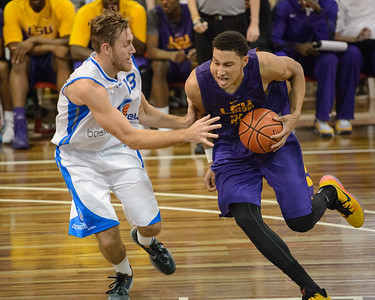 Ben Simmons, Mitchell Young - LSU Tigers Basketball (featuring Australian Ben Simmons ) vs South East Queensland All Stars, Auchenflower Stadium, Brisbane, Queensland, Australia; Tuesday 18 August 2015. Photos by Des Thureson - http://disci.smugmug.com