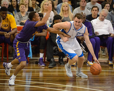 Zac Carter, Brandon Sampson - LSU Tigers Basketball (featuring Australian Ben Simmons ) vs South East Queensland All Stars, Auchenflower Stadium, Brisbane, Queensland, Australia; Tuesday 18 August 2015. Photos by Des Thureson - http://disci.smugmug.com