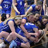 Leominster's Quinn O'Connell needed 18 points to reach 1,000 for her career an in the third quarter she got the last basket to make it 1001. After she made that basket she was mobbed by her team. SENTINEL & ENTERPRISE/JOHN LOVE