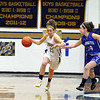 Leominster High School girls basketball played St. Bernard's on Tuesday night. ST B's player Amy Fnine tries to charge down the court while LHS's Erin Stephenson covers her. SENTINEL & ENTERPRISE/JOHN LOVE