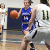 Leominster High School girls basketball played St. Bernard's on Tuesday night. LHS's Erin Stephenson charges down court with the ball. SENTINEL & ENTERPRISE/JOHN LOVE