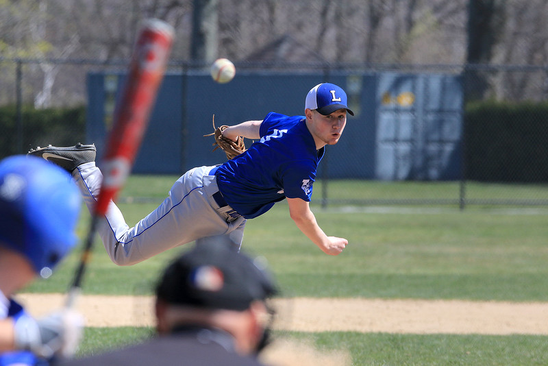 Leominster High School pitcher Tyler Brandt fires in a pitch to the plate during their game against Auburn High School on Thursday morning. SENTINEL & ENTERPRISE/JOHN LOVE