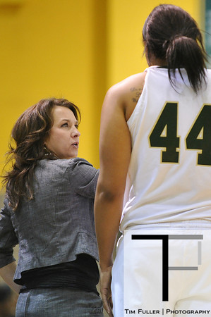 Nov 17, 2012; Detroit, MI, USA; Wayne State Warriors head coach Carrie Lohr and center Juanita Cochran (44) during the game against the Lewis Flyers at the Matthaei Center. Credit: Tim Fuller-Wayne State Athletics