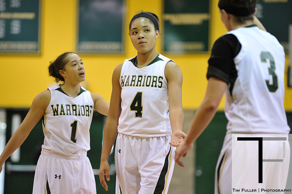 Nov 17, 2012; Detroit, MI, USA; Wayne State Warriors guard Lena Thomas (1), forward Phaebre Colbert (4), and guard Paige Sickmiller (3) during the game against the Lewis Flyers at the Matthaei Center. Credit: Tim Fuller-Wayne State Athletics