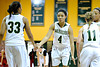 Nov 17, 2012; Detroit, MI, USA; Wayne State Warriors forward  Kayla Bridges (33), forward Phaebre Colbert (4), and guard Kristen Long (11) during the game against the Lewis Flyers at the Matthaei Center. Credit: Tim Fuller-Wayne State Athletics