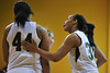 Nov 17, 2012; Detroit, MI, USA; Wayne State Warriors forward  Kayla Bridges (right) and center Juanita Cochran (44) during the game against the Lewis Flyers at the Matthaei Center. Credit: Tim Fuller-Wayne State Athletics
