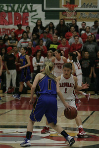 Exeter's Amber Atkinson (1) runs the offense against Lindsay Cardinal Destiny Garcia on February 26, 2013.