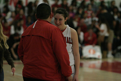 Lindsay Cardinal Ashley Baker (4) talks to Coach Frankie Arguelles on February 26, 2013.