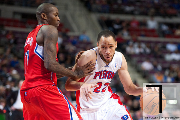 Dec 17, 2012; Auburn Hills, MI, USA; Los Angeles Clippers shooting guard Jamal Crawford (11) guards Detroit Pistons small forward Tayshaun Prince (22) during the fourth quarter at The Palace. Clippers won 88-76. Mandatory Credit: Tim Fuller-USA TODAY Sports
