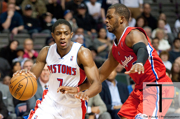 Dec 17, 2012; Auburn Hills, MI, USA; Detroit Pistons point guard Brandon Knight (7) drives past Los Angeles Clippers point guard Chris Paul (3) during the fourth quarter at The Palace. Clippers won 88-76. Mandatory Credit: Tim Fuller-USA TODAY Sports
