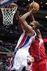 Dec 17, 2012; Auburn Hills, MI, USA; Detroit Pistons center Greg Monroe (10) goes to the basket during the fourth quarter against the Los Angeles Clippers at The Palace. Clippers won 88-76. Mandatory Credit: Tim Fuller-USA TODAY Sports