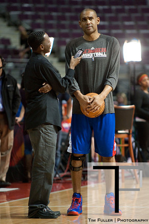 Dec 17, 2012; Auburn Hills, MI, USA; Los Angeles Clippers small forward Grant Hill (33) talks to a report before the game against the Detroit Pistons at The Palace. Mandatory Credit: Tim Fuller-USA TODAY Sports