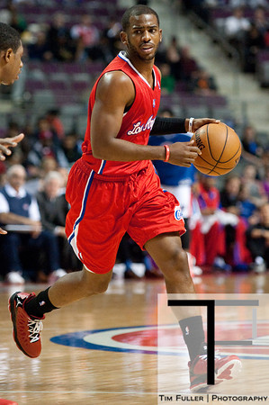 Dec 17, 2012; Auburn Hills, MI, USA; Los Angeles Clippers point guard Chris Paul (3) during the first quarter against the Detroit Pistons at The Palace. Mandatory Credit: Tim Fuller-USA TODAY Sports