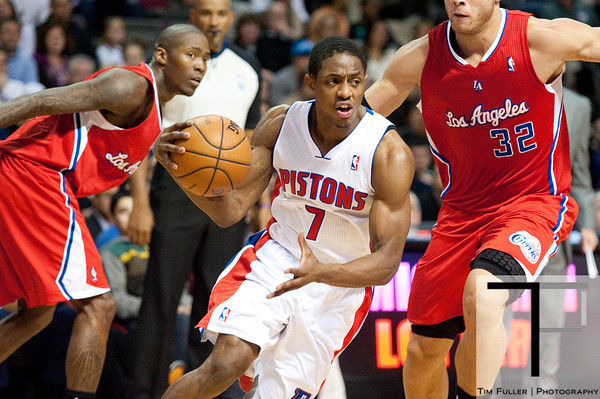 Dec 17, 2012; Auburn Hills, MI, USA; Detroit Pistons point guard Brandon Knight (7) gets past Los Angeles Clippers power forward Blake Griffin (32) during the fourth quarter at The Palace. Clippers won 88-76. Mandatory Credit: Tim Fuller-USA TODAY Sports