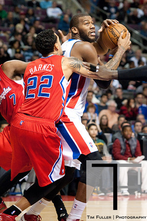 Dec 17, 2012; Auburn Hills, MI, USA; Detroit Pistons center Greg Monroe (10) drives to the basket against Los Angeles Clippers small forward Matt Barnes (22) during the third quarter at The Palace. Clippers won 88-76. Mandatory Credit: Tim Fuller-USA TODAY Sports