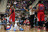 Dec 17, 2012; Auburn Hills, MI, USA; Detroit Pistons point guard Will Bynum (bottom) lays on the court after colliding with Los Angeles Clippers point guard Eric Bledsoe (12) during the fourth quarter at The Palace. Clippers won 88-76. Mandatory Credit: Tim Fuller-USA TODAY Sports