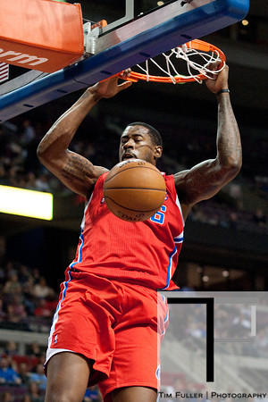 Dec 17, 2012; Auburn Hills, MI, USA; Los Angeles Clippers center DeAndre Jordan (6) slam dunks during the first quarter against the Detroit Pistons at The Palace. Mandatory Credit: Tim Fuller-USA TODAY Sports