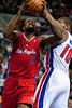 Dec 17, 2012; Auburn Hills, MI, USA; Los Angeles Clippers center DeAndre Jordan (6) gets past Detroit Pistons center Greg Monroe (10) during the second quarter at The Palace. Mandatory Credit: Tim Fuller-USA TODAY Sports
