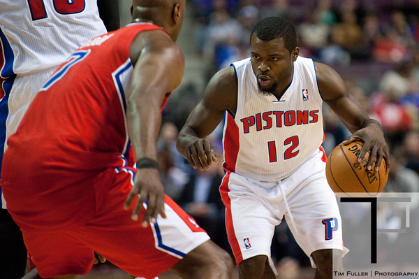 Dec 17, 2012; Auburn Hills, MI, USA; Detroit Pistons point guard Will Bynum (12) during the fourth quarter against the Los Angeles Clippers at The Palace. Clippers won 88-76. Mandatory Credit: Tim Fuller-USA TODAY Sports