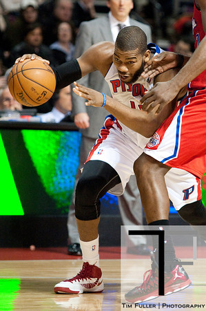 Dec 17, 2012; Auburn Hills, MI, USA; Detroit Pistons center Greg Monroe (10) drives to the basket during the third quarter against the Los Angeles Clippers at The Palace. Clippers won 88-76. Mandatory Credit: Tim Fuller-USA TODAY Sports
