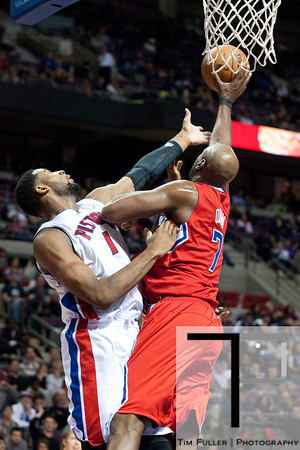 Dec 17, 2012; Auburn Hills, MI, USA; Los Angeles Clippers power forward Lamar Odom (7) blocks Detroit Pistons center Andre Drummond (1) during the fourth quarter at The Palace. Clippers won 88-76. Mandatory Credit: Tim Fuller-USA TODAY Sports