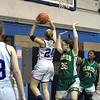 Lunb Sarah Blomgren goes up Cllinton L-R Taryn Wetherbee Madjine Seguy