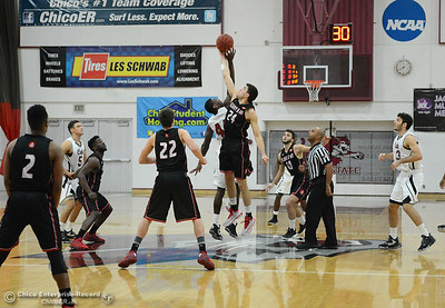 Tip-off as Chico State plays Academy of Art during the 57th annual Mac Martin Classic basketball tournament Friday, nov. 25, 2016, at Acker Gym in Chico, California. (Dan Reidel -- Enterprise-Record)
