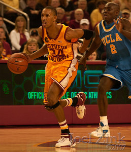 Men's basektball vs. UCLA in the Galen Center, 1.13.07. USC almost won, but lost in the last second 64-65.  LOS ANGELES (AP) -Arron Afflalo hit a go-ahead jumper with 4 seconds left, Darren Collison scored a career-high 17 points and No. 4 UCLA rallied in the final 4 1/2 minutes to beat crosstown rival Southern California 65-64 Saturday.  USC's Gabe Pruitt and Nick Young hit consecutive 3-pointers to tie the score at 63 with 22 seconds to go. Young was fouled and made the free throw for a 64-63 lead.  Afflalo's jumper put the Bruins back in front, 65-64. The Trojans brought the ball past midcourt under heavy pressure, but freshman Taj Gibson was being forced out of bounds as he tossed up a desperation shot that never had a chance.  Afflalo added 15 points and Lorenzo Mata 12 for UCLA.  The Bruins (15-1, 4-1 Pac-10) were coming off a 68-66 loss at Oregon that knocked them out of the No. 1 ranking.  The Trojans (13-5, 3-2) led 55-49 before going scoreless for nearly five minutes. UCLA ran off nine straight points and seemingly had the momentum.  Young finished with 14 points, Lodrick Stewart added 13 and Pruitt 10 for the Trojans, who fell to 3-2 against ranked opponents this season.  Young hit his tying 3 from the right baseline as Collison came flying at him. Young collapsed on the floor in joy, while Collison tossed up his arms in disgust at the foul call.