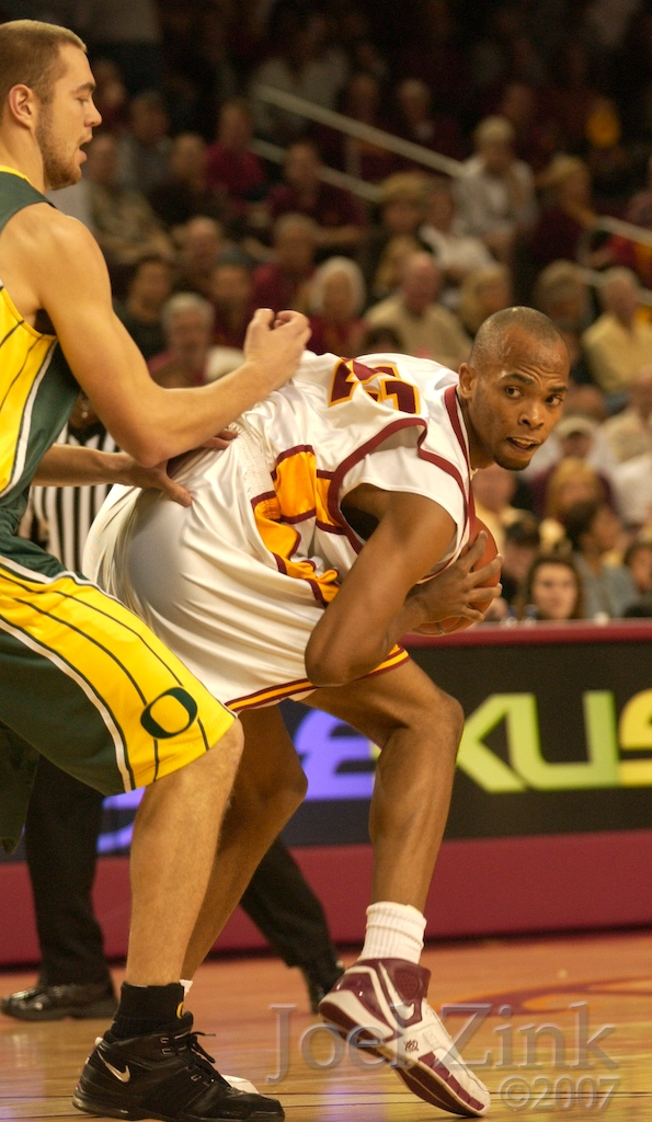 USC men's basketball vs. Oregon at the Galen Center. USC won 71-68.   LOS ANGELES (AP) - Ninth-ranked Oregon set out on a four-game trip 10 days ago as one of the best road teams in the nation.  After three losses, the Ducks can't wait to get back to Eugene.  Taj Gibson scored 18 points and Southern California held off a late rally for a 71-68 victory Saturday to give the Trojans a season sweep of Oregon for the first time in six years.  Coming off a 69-57 defeat to No. 5 UCLA on Thursday, Oregon lost two in a row for the first time this season and has dropped three of its last four.