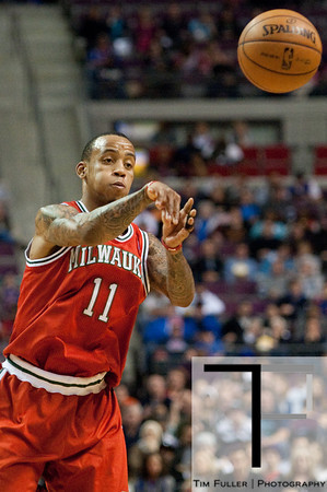 Dec 30, 2012; Auburn Hills, MI, USA; Milwaukee Bucks point guard Monta Ellis (11) during the first quarter against the Detroit Pistons at The Palace. Mandatory Credit: Tim Fuller-USA TODAY Sports