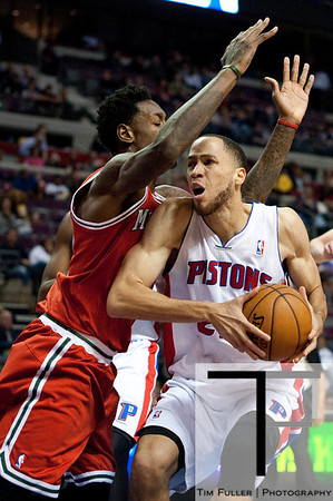 Dec 30, 2012; Auburn Hills, MI, USA; Detroit Pistons small forward Tayshaun Prince (22) drives to the basket against Milwaukee Bucks center Larry Sanders (8) during the fourth quarter at The Palace. Pistons won 96-94. Mandatory Credit: Tim Fuller-USA TODAY Sports