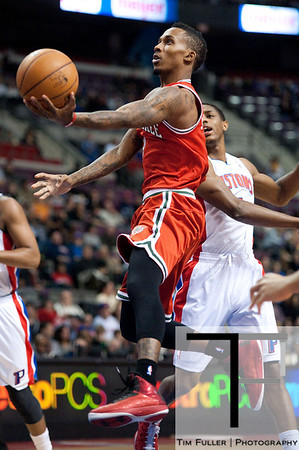Dec 30, 2012; Auburn Hills, MI, USA; Milwaukee Bucks point guard Brandon Jennings (3) goes to the basket during the first quarter against the Detroit Pistons at The Palace. Mandatory Credit: Tim Fuller-USA TODAY Sports