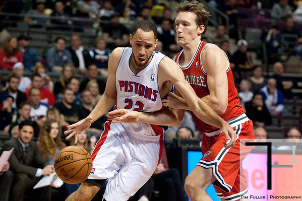 Dec 30, 2012; Auburn Hills, MI, USA; Detroit Pistons small forward Tayshaun Prince (22) drives to the basket against Milwaukee Bucks small forward Mike Dunleavy (17) during the third quarter at The Palace. Pistons won 96-94. Mandatory Credit: Tim Fuller-USA TODAY Sports