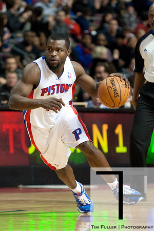 Dec 30, 2012; Auburn Hills, MI, USA; Detroit Pistons point guard Will Bynum (12) during the fourth quarter against the Milwaukee Bucks at The Palace. Pistons won 96-94. Mandatory Credit: Tim Fuller-USA TODAY Sports