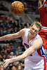 Dec 30, 2012; Auburn Hills, MI, USA; Detroit Pistons small forward Kyle Singler (25) looses the ball during the fourth quarter against the Milwaukee Bucks at The Palace. Pistons won 96-94. Mandatory Credit: Tim Fuller-USA TODAY Sports