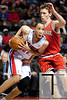 Dec 30, 2012; Auburn Hills, MI, USA; Detroit Pistons small forward Tayshaun Prince (22) drives to the basket against Milwaukee Bucks small forward Mike Dunleavy (17) during the fourth quarter at The Palace. Pistons won 96-94. Mandatory Credit: Tim Fuller-USA TODAY Sports