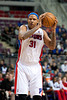 Dec 30, 2012; Auburn Hills, MI, USA; Detroit Pistons power forward Charlie Villanueva (31) during the fourth quarter against the Milwaukee Bucks at The Palace. Pistons won 96-94. Mandatory Credit: Tim Fuller-USA TODAY Sports