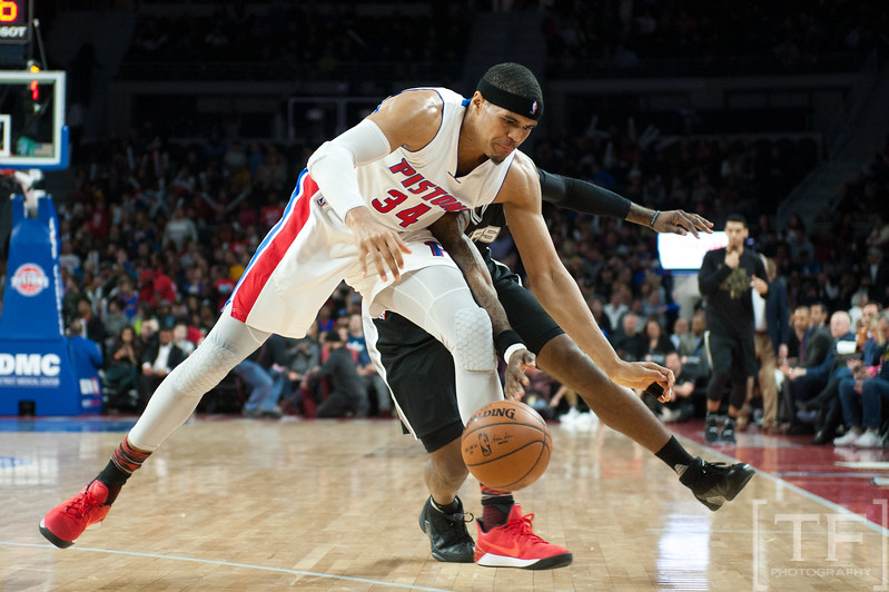 Feb 10, 2017; Auburn Hills, MI, USA; Detroit Pistons forward Tobias Harris (34) grabs a lose ball during the fourth quarter against the San Antonio Spurs at The Palace of Auburn Hills. Mandatory Credit: Tim Fuller-USA TODAY Sports