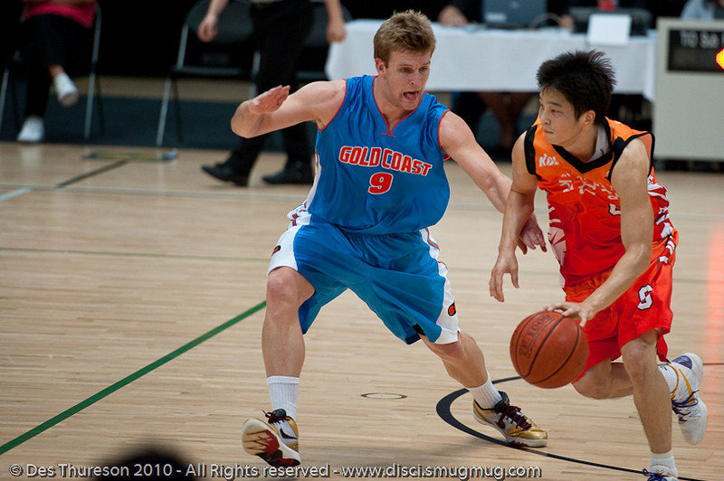Shaun Gleeson plays D. Pre-Season NBL International Basketball: Gold Coast Blaze v Anyang KT & G Kites - Korea; Logan City, Queensland, Australia; 2010.