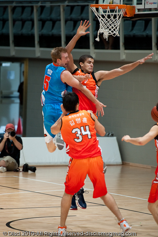Brendan Teys looks for the dump pass whilst under heavy pressure - Pre-Season NBL International Basketball: Gold Coast Blaze v Anyang KT & G Kites - Korea; Logan City, Queensland, Australia; 2010.