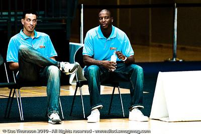 New Blaze imports Bennett Davison and James Maye wishing they were out there - Pre-Season NBL International Basketball: Gold Coast Blaze v Anyang KT & G Kites - Korea; Logan City, Queensland, Australia; 2010.