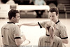 "Vaughan Mayberry chats with his colleagues - Pre-Season NBL International Basketball: Gold Coast Blaze v Anyang KT & G Kites - Korea; Logan City, Queensland, Australia; 2010. (Lightroom Preset: ""Aged Photo"".)"