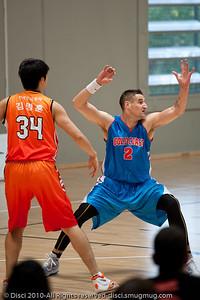 Pero Vasiljevic shows his defensive stance to coach Joey Wright - Pre-Season NBL International Basketball: Gold Coast Blaze v Anyang KT & G Kites - Korea; Logan City, Queensland, Australia; 2010.