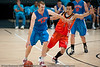 Tom Garlepp uses all 4 limbs... - Pre-Season NBL International Basketball: Gold Coast Blaze v Anyang KT & G Kites - Korea; Logan City, Queensland, Australia; 2010.