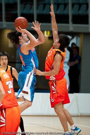 "Basketball: NBL International Preseason Game: Gold Coast Blaze v ""Anyang KT & G Kites"" (Korea) - Logan City, Queensland, Australia. Photographed by Des Thureson."