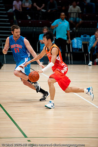 Anthony Petrie plays D - Pre-Season NBL International Basketball: Gold Coast Blaze v Anyang KT & G Kites - Korea; Logan City, Queensland, Australia; 2010.