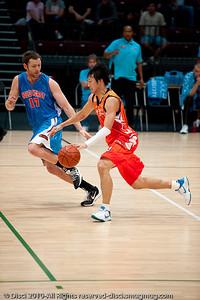 Anthony Petrie plays D - Pre-Season NBL International Basketball: Gold Coast Blaze v Anyang KT & G Kites - Korea; Logan City, Queensland, Australia; 2010.