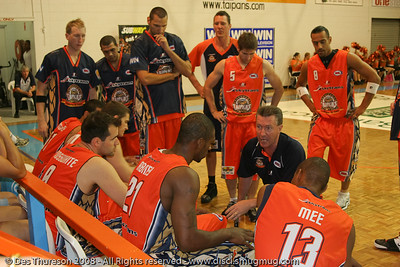 Cairns Taipans Head Coach Allan Black conducts the Time Out - Cairns NBL pre-season basketball tournament; Tropical North Queensland, Australia; August 2008.