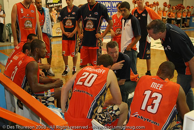 Cairns Taipans Head Coach Allan Black conducts the Time Out - Larry Abney, Gary Boodnikoff, Darnell Mee, Mark Beecroft - Cairns NBL pre-season basketball tournament; Tropical North Queensland, Australia; August 2008.